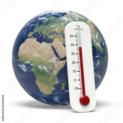 Valokuvatapetti Terre et thermomètre, réchauffement climatique