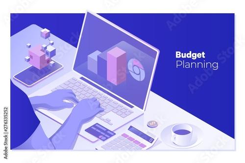 BUDGET PLANNING man working at office desk and using computer and objects, Wallpaper Mural