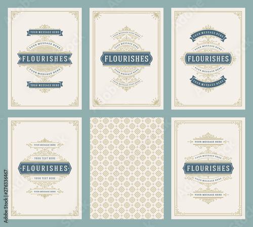 Foto  Vintage ornament greeting cards set vector templates.