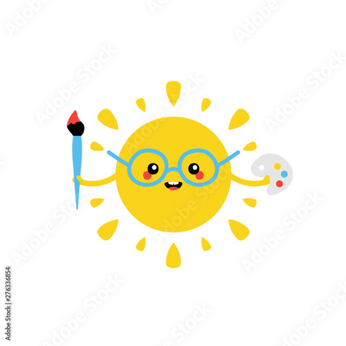 Cute cartoon vector sun character smiling, holding paint brush and