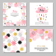 Baby Shower Girl Vector Set. Collection Of Cards In Pink Color.