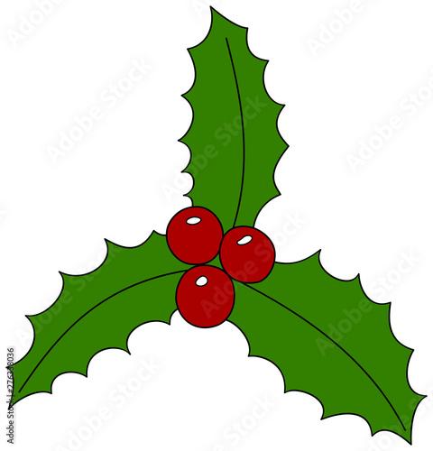 Christmas Holly Cartoon.Cartoon Christmas Holly Icon Christmas Symbol Vector