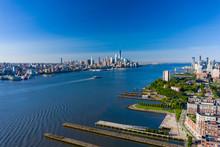 Aerial Shot Of The Hudson River New York USa