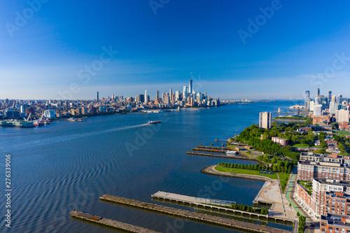 Fotografie, Tablou  Aerial shot of the Hudson River New York USa