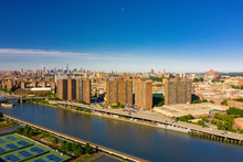 Aerial Shot Of The Harlem River NY