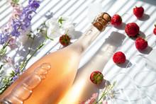 Pink Sparkling Wine, Glasses, ...