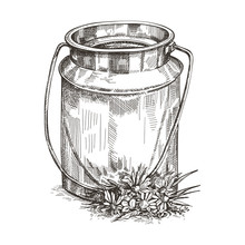 Vector Image Of Milk Can And Wildflowers. Sketch Style Drawing.