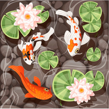 Koi Carp Swimming In A Pond With Lily Lotus With Green Leaves On Transparent Water And Stone Bottom Flat Vector Illustration