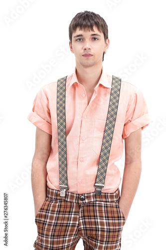 Photo young guy wearing a colourful old-fashioned clothes in the style of pinup