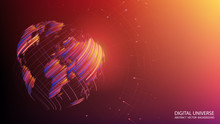 Abstract Brown And Orange Background. Planet Earth Created By Brush Strokes. Vector. Colorful Sphere. Geographic Map. Global Network Of Points And Lines. Technology And Communication. Internet.