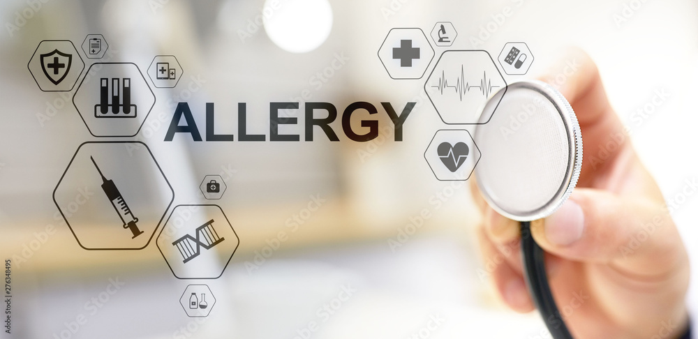 Fototapety, obrazy: Allergy diagnosis medical and healthcare concept Doctor with stethoscope.