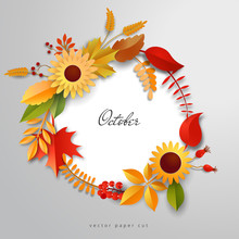 Vector Icon With Autumn Leaves, Flowers And Berries. Paper Cut Style.