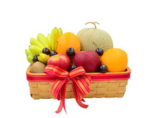 Arrangement Mix Fruits Basket Orange Yellow Banana Red Apple Green Melon Kiwi Cherry Isolated On White Background With Clipping Path