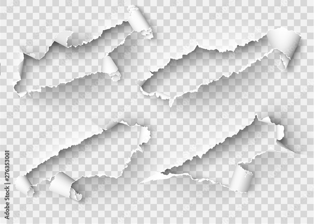 Fototapety, obrazy: Torn ripped paper vector template, sides with ripped edges on realistic paper background. Ripped side set of banners for web and print and space for text.