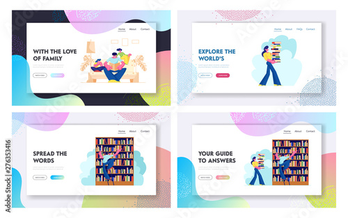 People in Library Landing Page Set, Characters Reading and Searching Books Poster Mural XXL