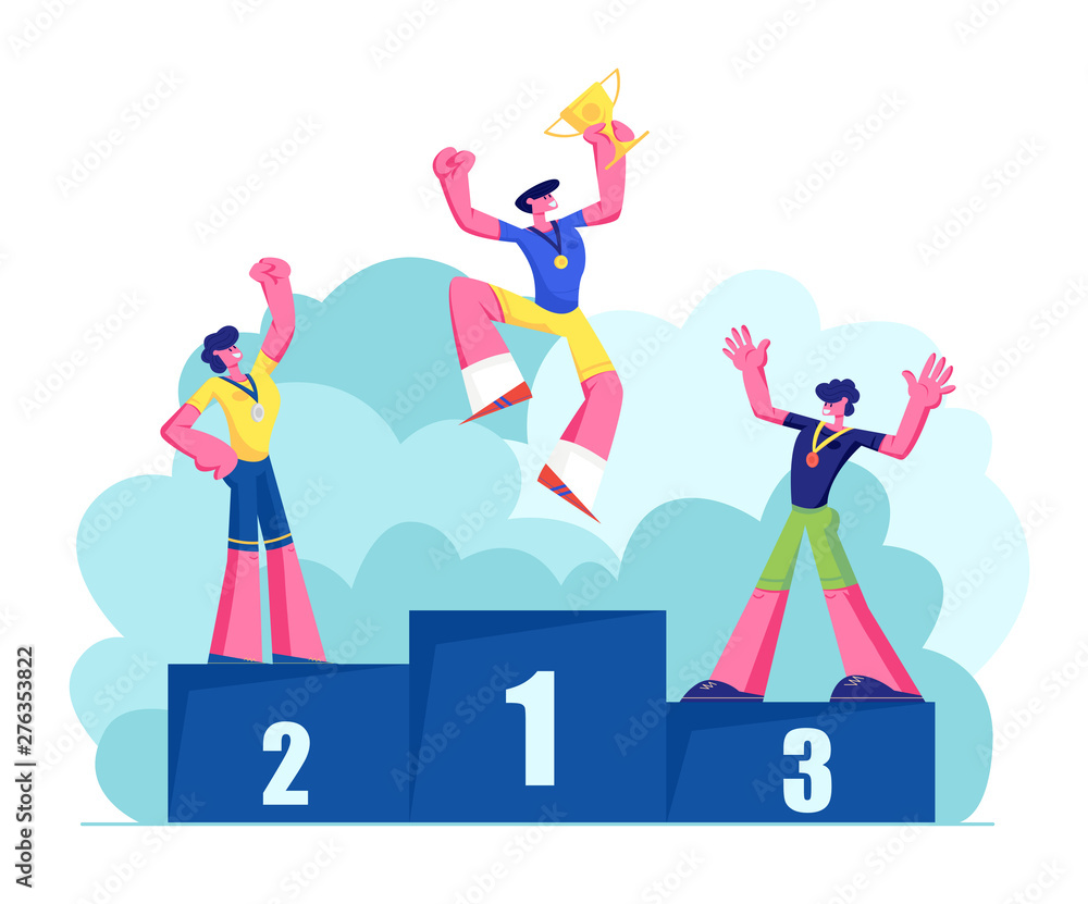 Fototapety, obrazy: Happy Athletes on Winners Podium with Medals and Cup. Male Characters Sportsmen Stand on Win Pedestal. Victory, Sport Lifestyle, Success Achievement, Sports Trophy. Cartoon Flat Vector Illustration