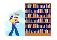 Woman Carry Big Heap Of Book T...