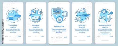 Photo  Targeting types blue onboarding mobile app page screen vector template
