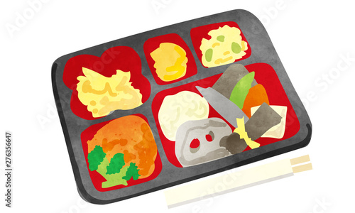 和食のお弁当イラスト