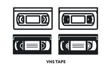 VHS Retro Video Cassette Tape. Vector Flat Line Icon Illustration.