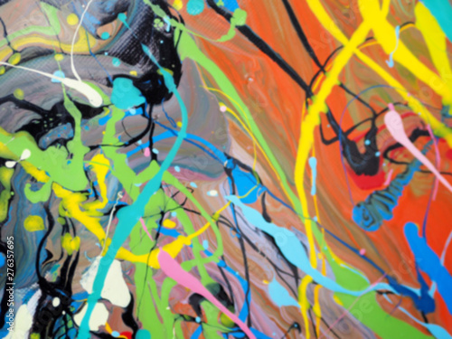 Blur colorful oil paint multi colors abstract background. © vikorn