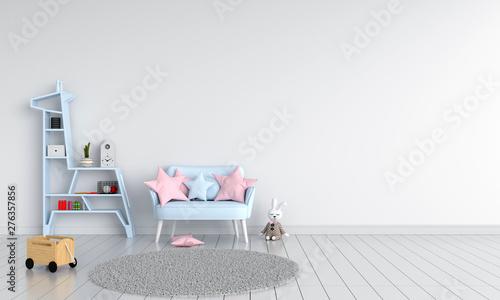 obraz PCV Blue sofa in child room for mockup, 3D rendering
