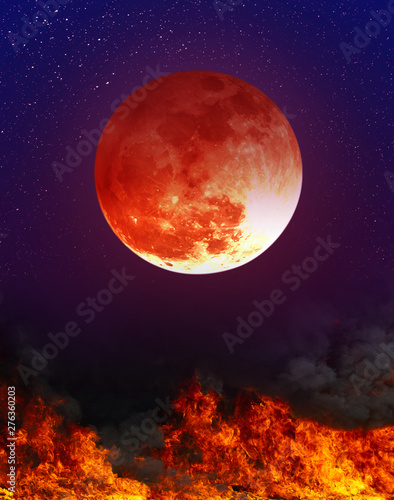 Fototapety, obrazy: Landscape of sky with supermoon and many stars above the fire.
