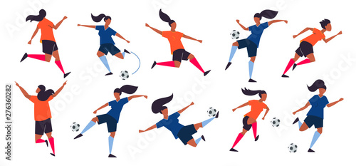 Girl power. Woman soccer players. Football vector illustration.