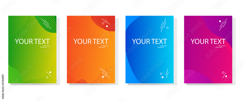 Fototapety, obrazy: Colorful set of abstract dynamic modern bright banners, template cover design. Space for your text. Colored gradient. Vector illustration