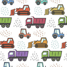 Cute Kids Seamless Pattern With Cartoon Colorful Industrial Transport And Abstract Hand Drawn Shapes. Childish Boys Texture With Dozer, Tractor And Dumper For Textile, Wrapping Paper, Wallpaper