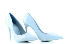 Blue High Heel Shoes Isolated On White Background