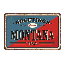 Greetings From Montana Vintage Rusty Metal Sign On A White Background, Vector Illustration
