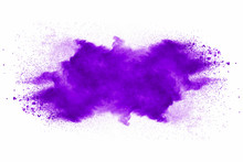 Explosion Of Violet Dust On White Background.