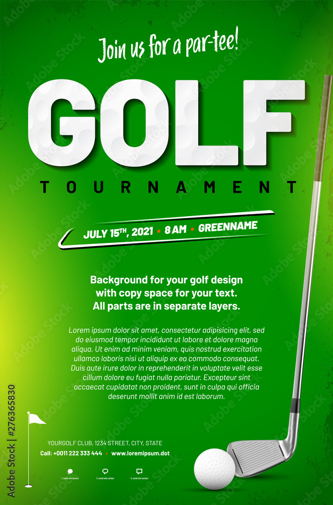 Fototapety, obrazy: Golf tournament poster template with ball and golf club