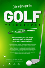 Golf Tournament Poster Template With Ball And Golf Club