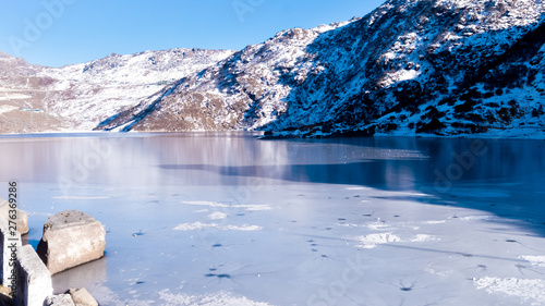 Tsomgo Lake (Tsongmo or Changu Lake) frozen during winter