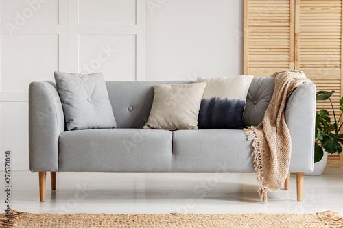 Fototapeta Various cushions on the sofa in stylish living room obraz na płótnie
