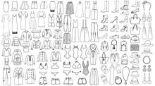 Hand Drawn Set Of Woman Clothe...