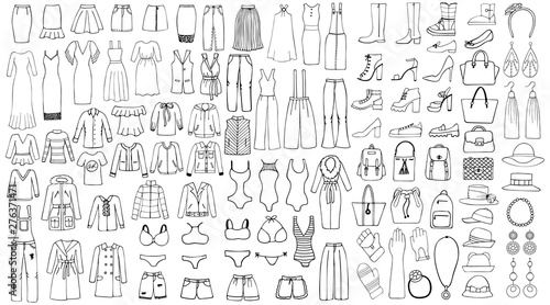Cuadros en Lienzo Hand drawn set of woman clothes. Line art set.
