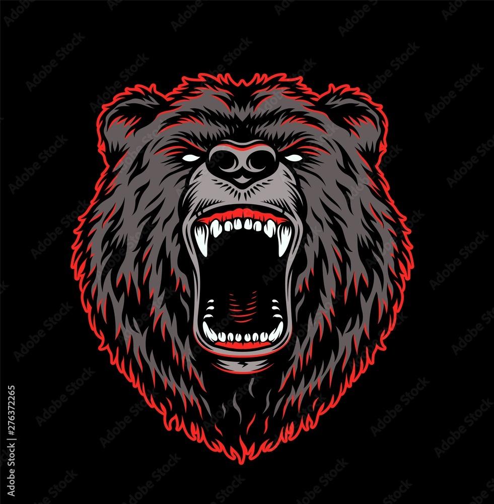 Fototapeta Aggressive grizzly head colorful template
