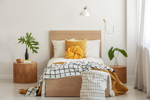 Knot Pillow And Black And White Blanket On Single Bed In Fashionable Interior With Green Leaf In Vase On Wooden Nightstand