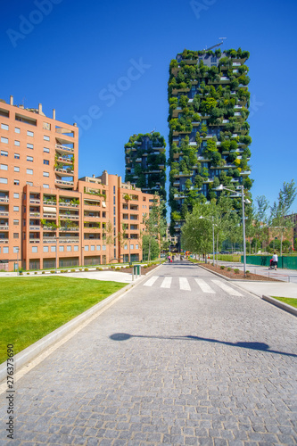 Milan Bosco Verticale (Vertical Forest) in Milan city, Italy