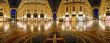 Galleria Vittorio Emanuele II Interior At Night In Milan City, Italy