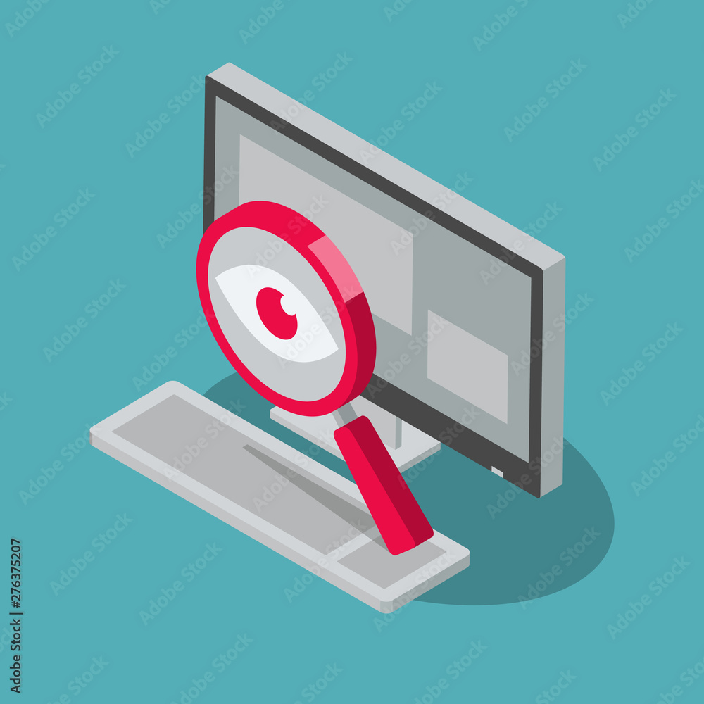 Fototapeta Spyware internet cyber attack symbol with spy magnifier and desktop computer, isolated on blue background. Flat design, easy to use for your website or presentation.