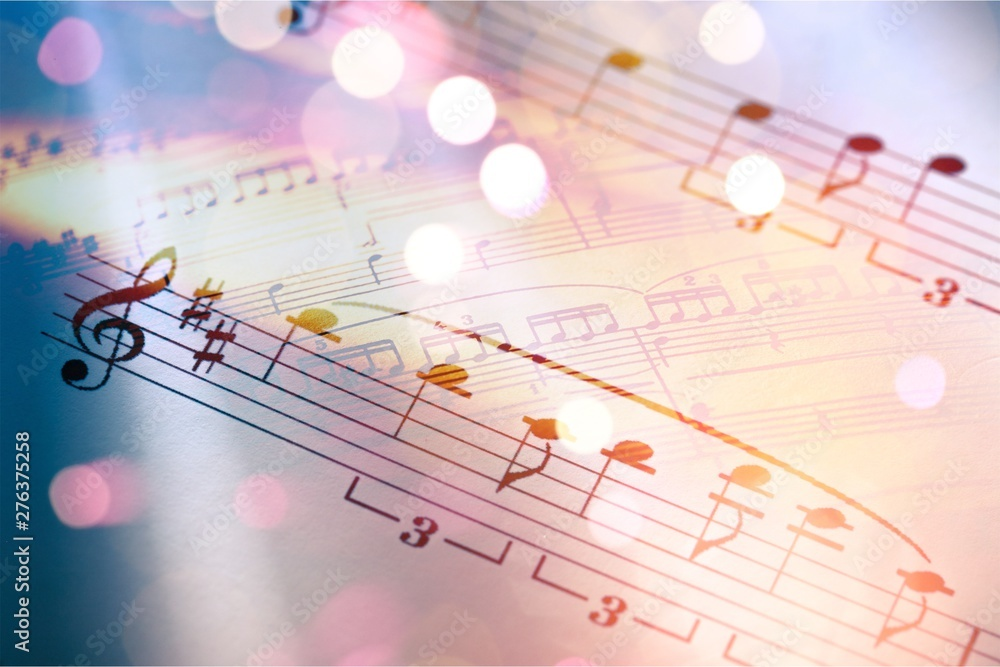 Fototapety, obrazy: Sheets with music notes and abstract light bokeh