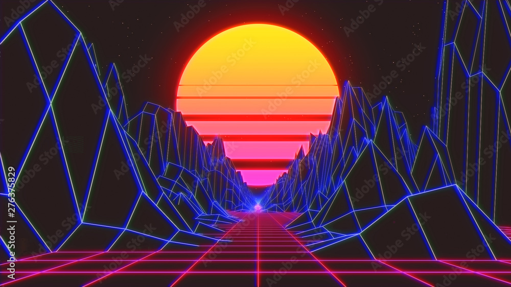 Fototapety, obrazy: retro radial sun rising abstract with a background  neon   3d prescriptive bridge or  grid render - Illustration
