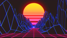 Retro Radial Sun Rising Abstract With A Background  Neon   3d Prescriptive Bridge Or  Grid Render - Illustration