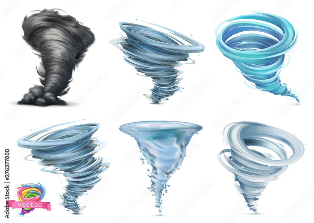 Fototapeta Tornado. Hurricane. 3d vector icon set