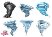 Tornado. Hurricane. 3d Vector Icon Set