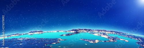 Mediterranean city lights from space Fototapet
